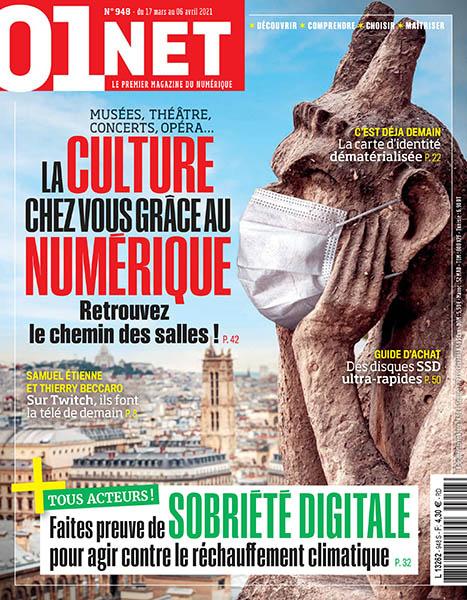 01Net, N°948 - Du 17 mars au 06 avril 2021 - Le culture chez vous grâce au numérique