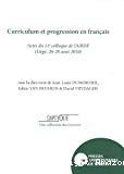 Diptyque, 23. Curriculum et progression en français